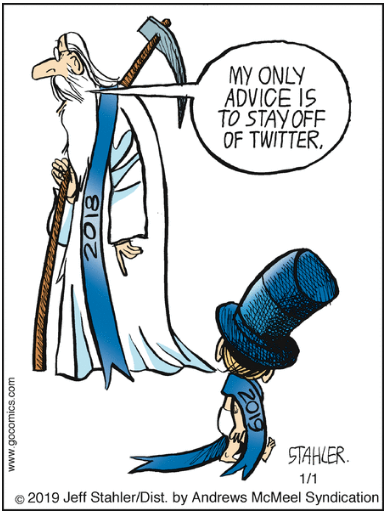 Vignetta in cui l'anno vecchio dice all'anno nuovo MY ONLY ADVICE IS TO STAY OFF OF TWITTER